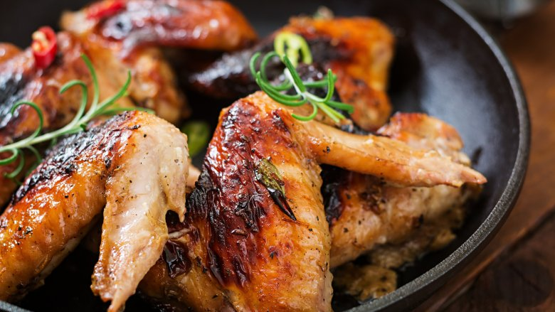 Editor's Note Uncooked chicken wing sections (wingettes) may be substituted for whole chicken wings. This recipe was prepared with the first and second sections of the chicken wings.
