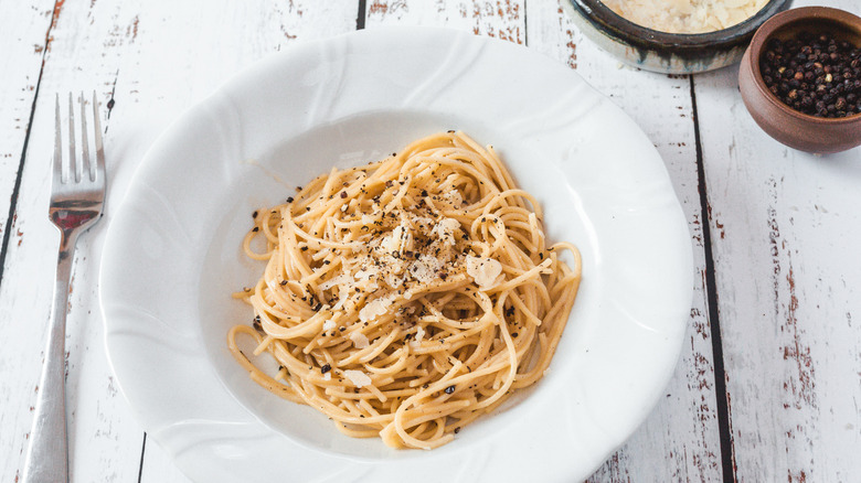 bowl of pasta with fork