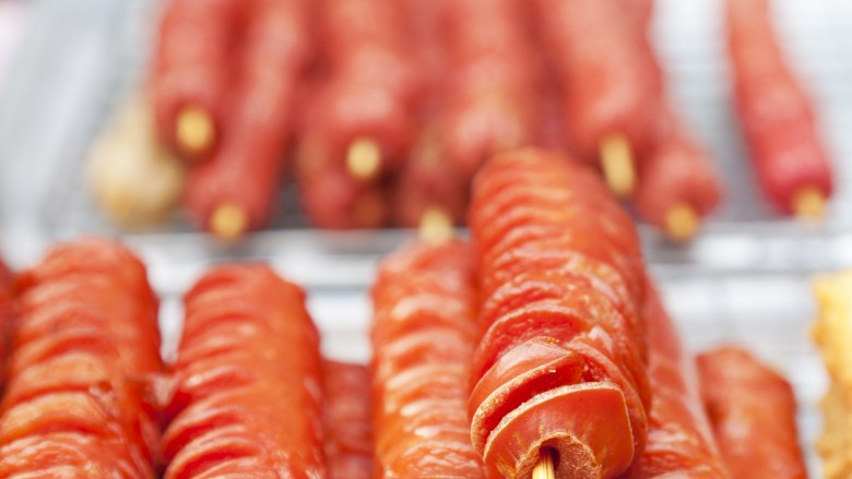 spiraled hot dogs