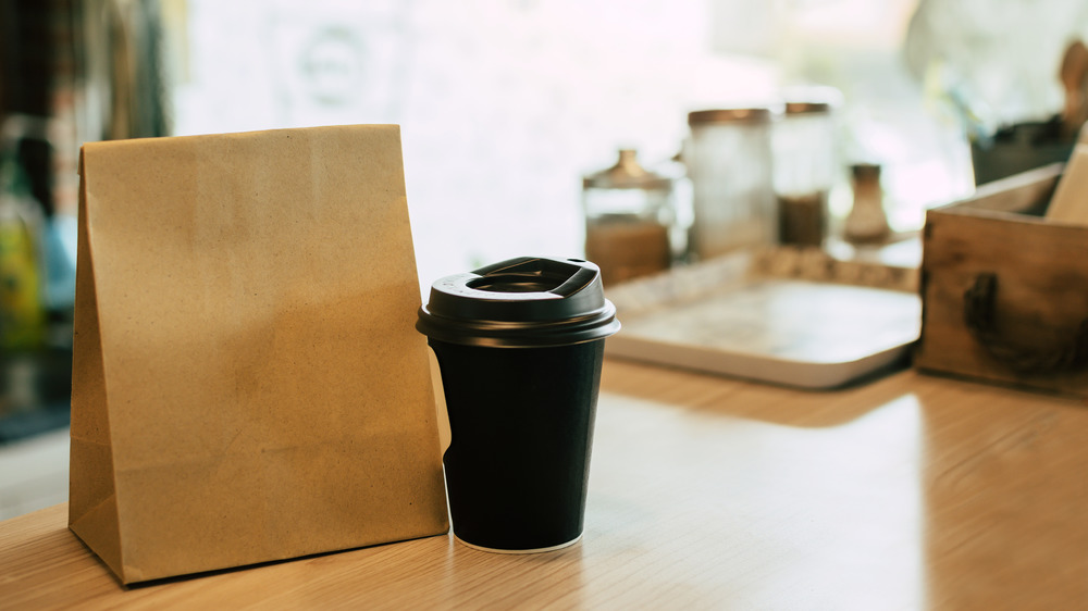 Brown bag to-go coffee order