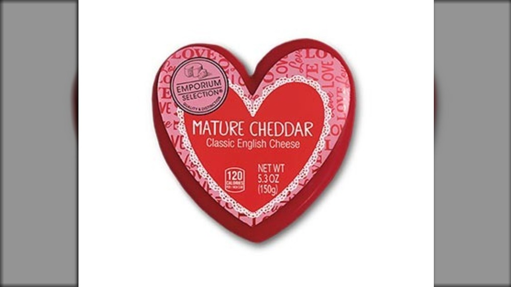 Heart-shaped cheese at Aldi