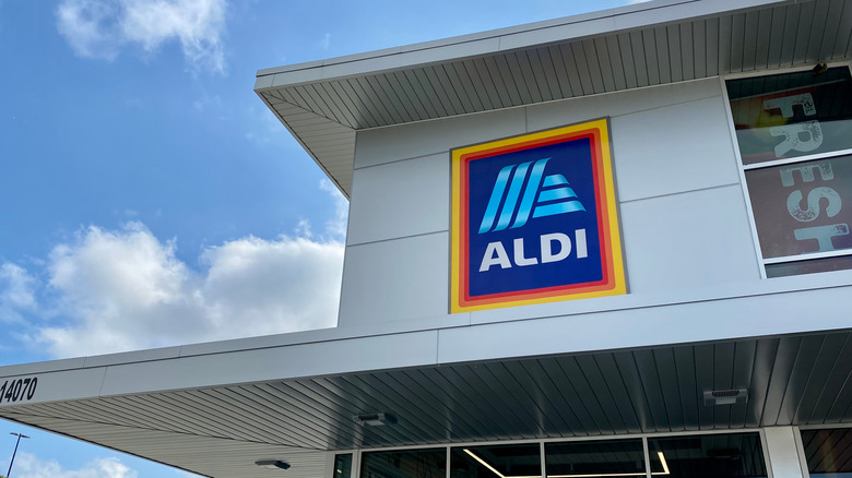 Exterior of Aldi on sunny day