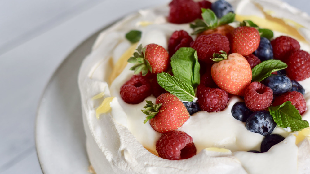 Pavlova with fruit on top