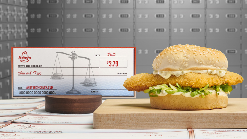Arby's sandwich with fish check