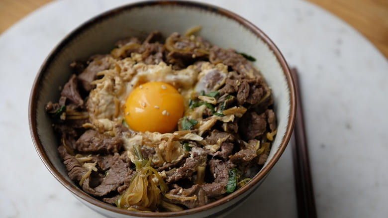 A bowl of Beef Donburi