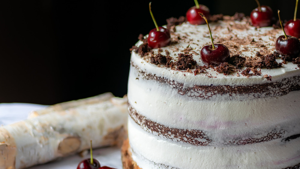 black forest cake recipe on display