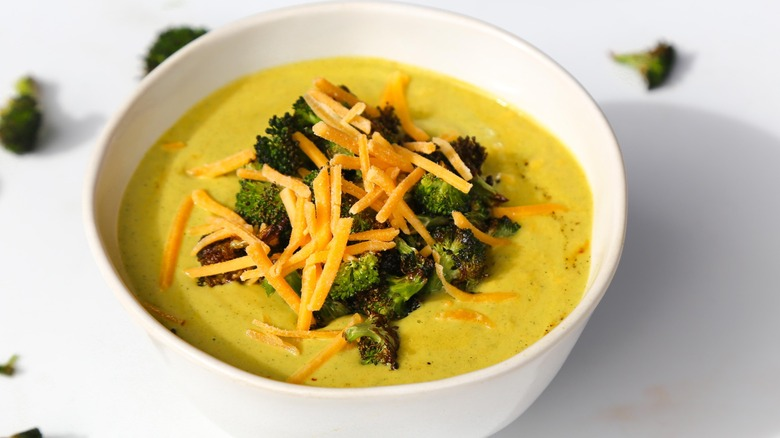 broccoli cheddar soup recipe served in a bowl