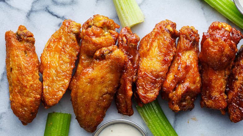 Chicken wings in different colors
