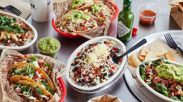 variety of Chipotle food items