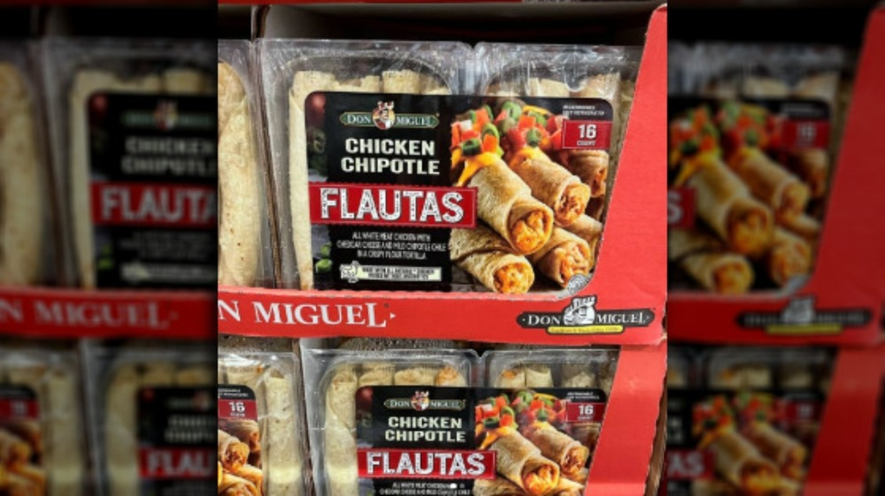 Costco shelf packed with Don Miguel flautas
