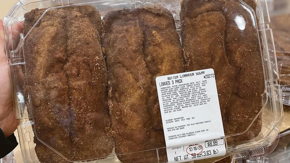 Package of Costco cinnamon sugar butter loaves
