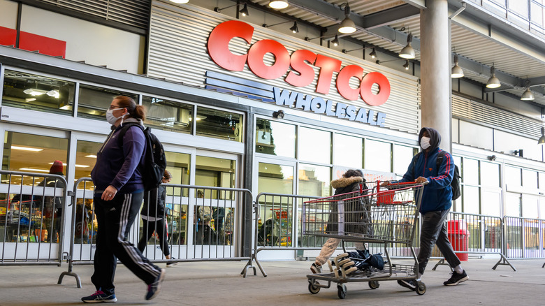 Costco Wholesale storefront shoppers