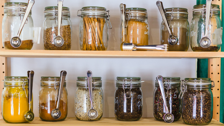 Shelves with jars of spices