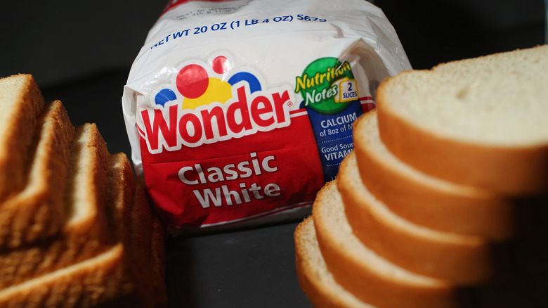 Package of Wonder Bread next to slices of bread