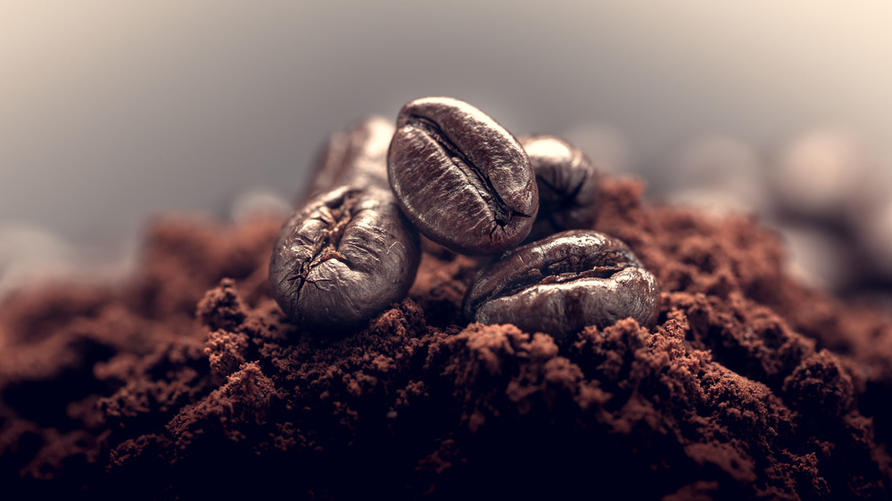 Ground coffee beans close up