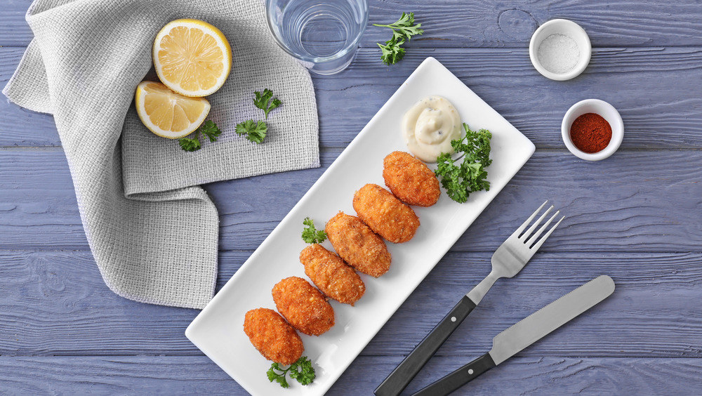 Salmon croquettes on a plate