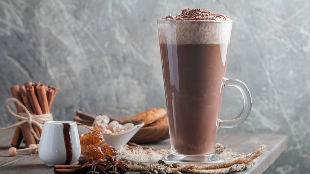 Fancy coffee latte with whipped cream