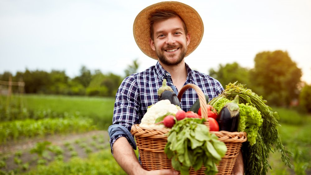 Farmer with produce