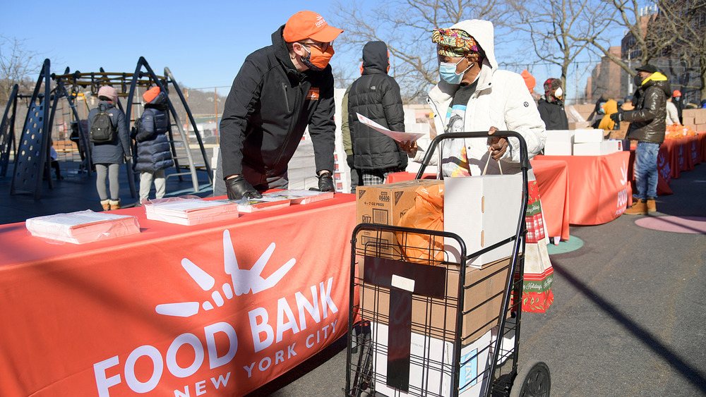 Outdoor food bank distribution in New York City