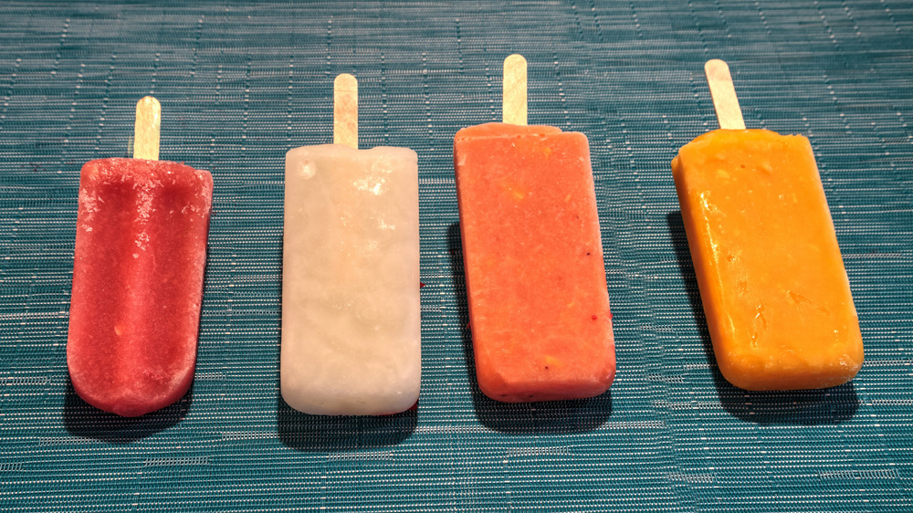 Popsicles on table