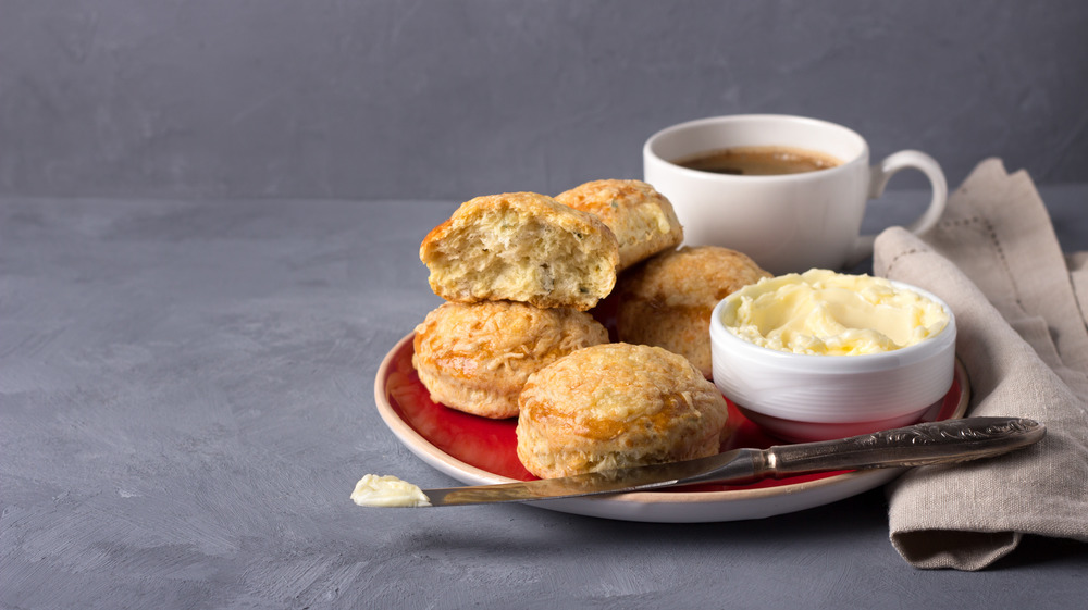 British cheese scones with butter