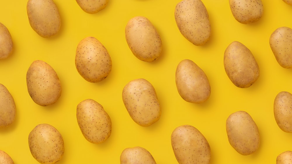 potatoes on a yellow background