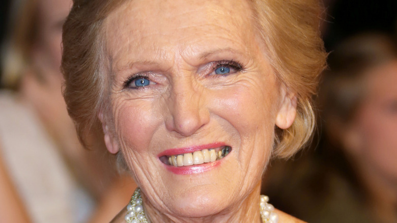 Closeup of Mary Berry smiling wearing necklace
