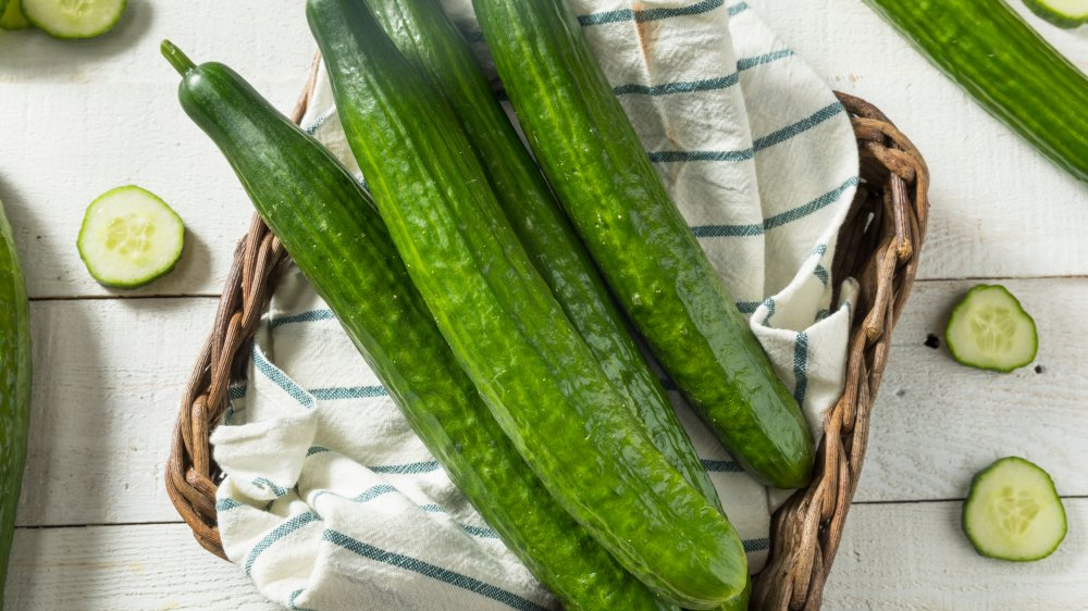 English cucumbers in basket