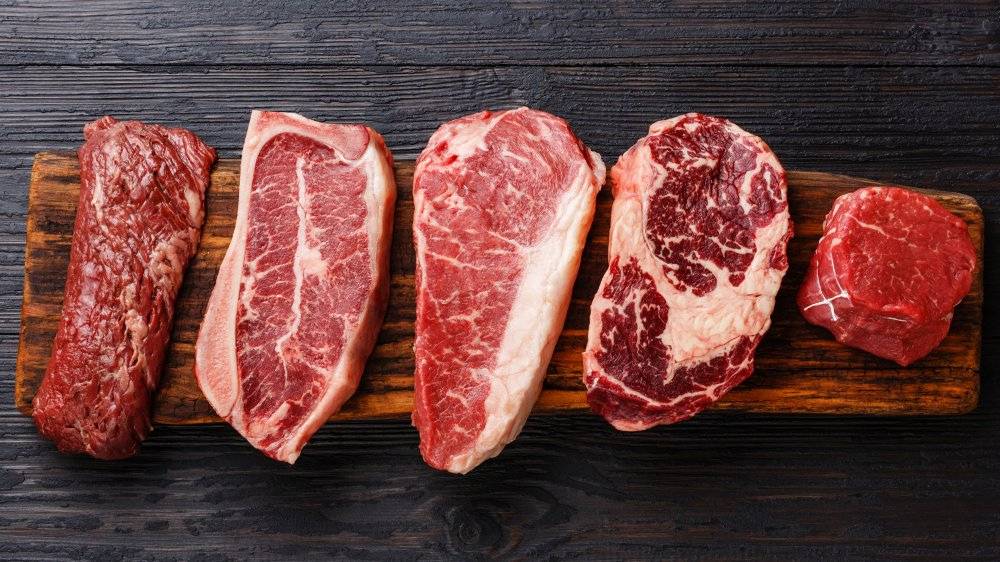 Various cuts of aged steak