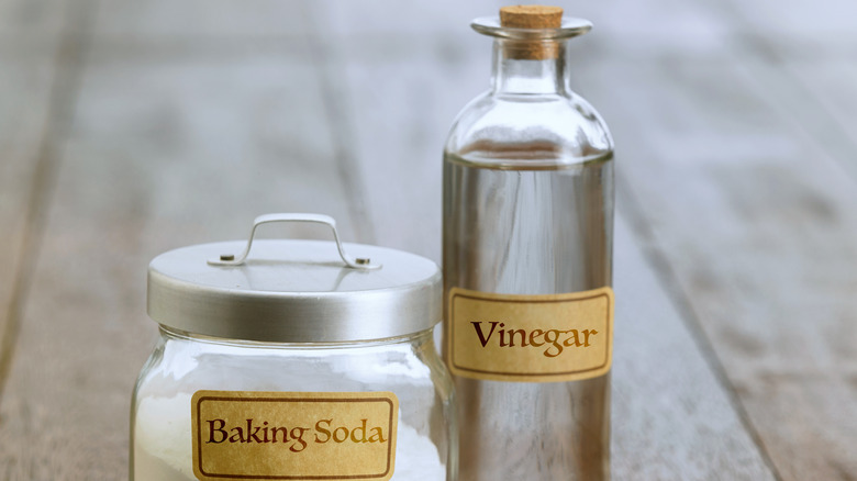 A jar of baking soda beside a bottle of vinegar