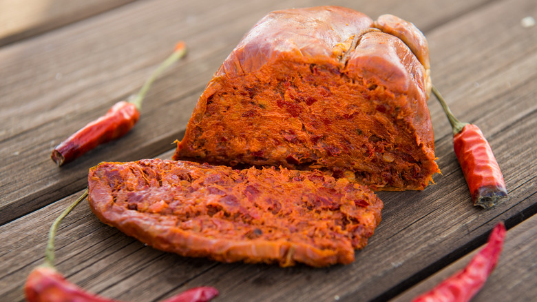 sliced 'nduja with peppers