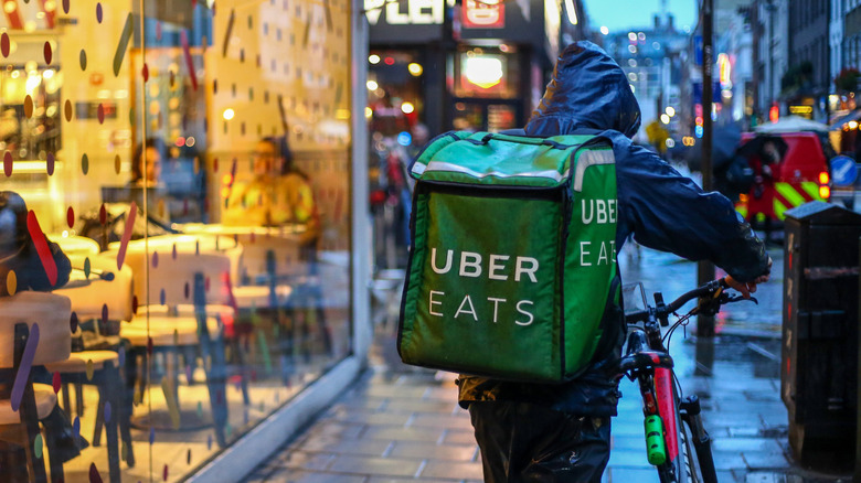 Uber Eats driver with food bag