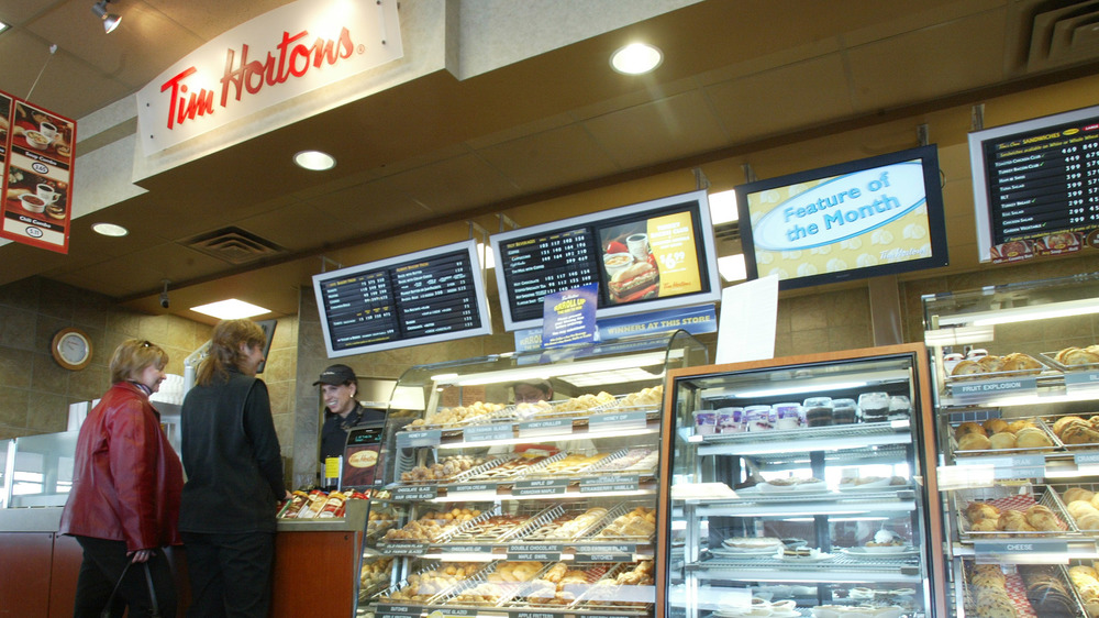 Two customers at Tim Hortons