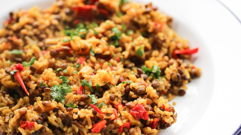 rice and lentils served