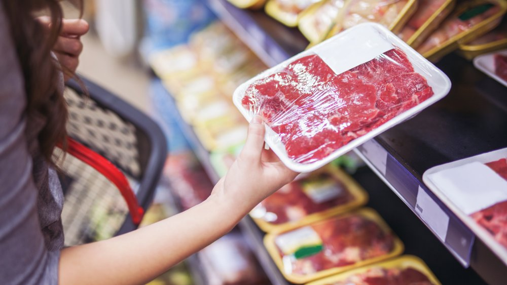 Packaged meat at the grocery store
