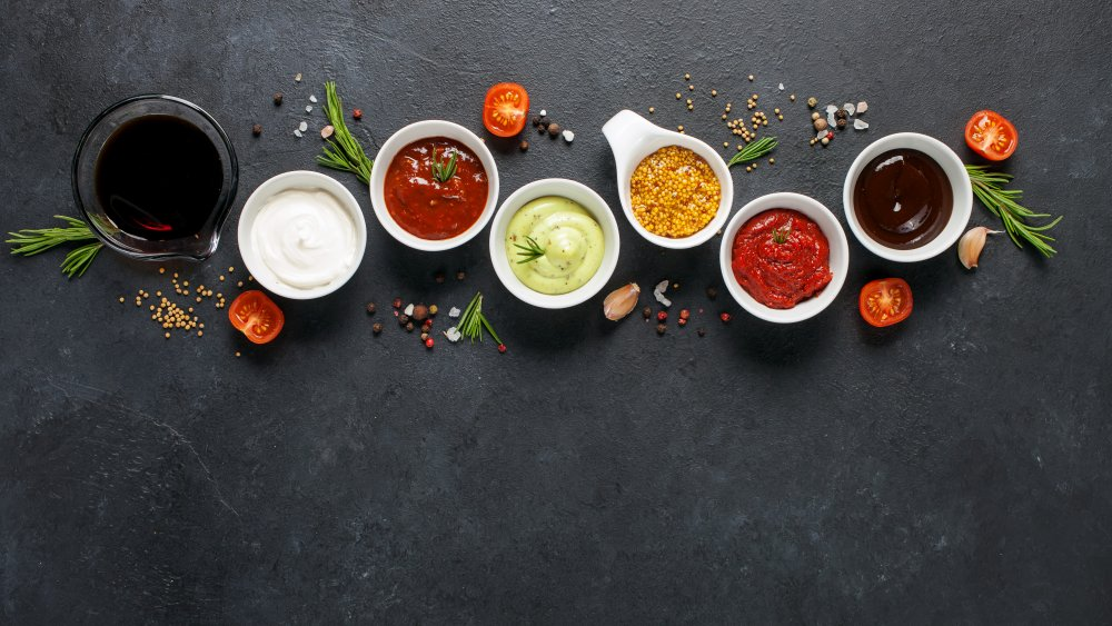 An assortment of sauces Chopped chefs use