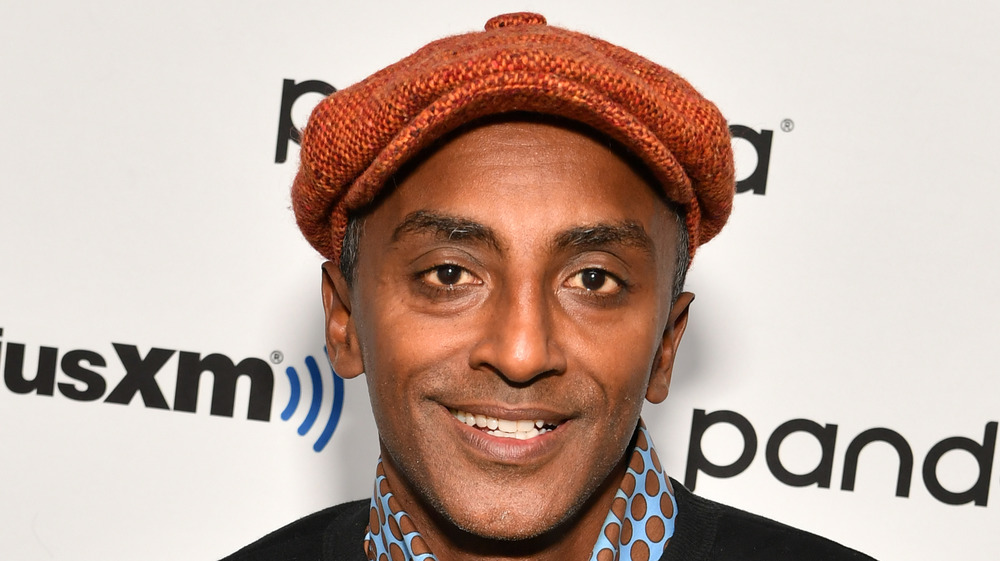 Chef Marcus Samuelsson with orange hat