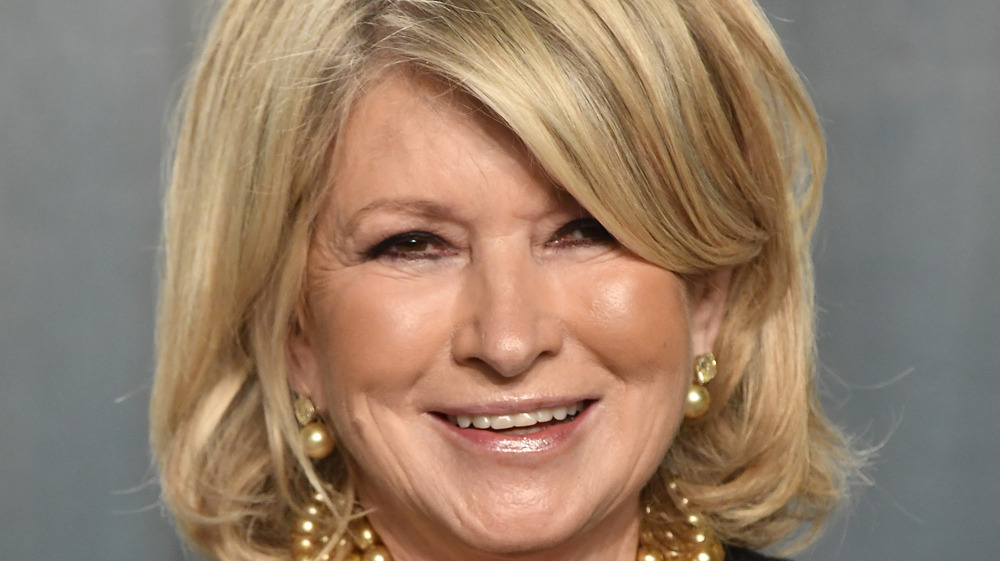 Martha Stewart in golden pearl earrings