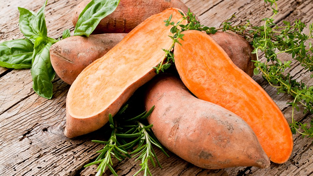 Sweet potatoes with thyme, basil, and rosemary