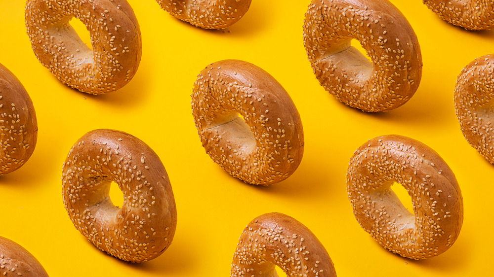 Bagels against a yellow background