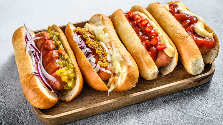 Hot dogs with various toppings