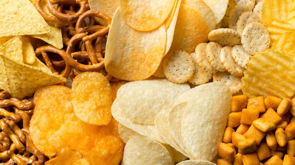 Salty snacks, pretzels and chips