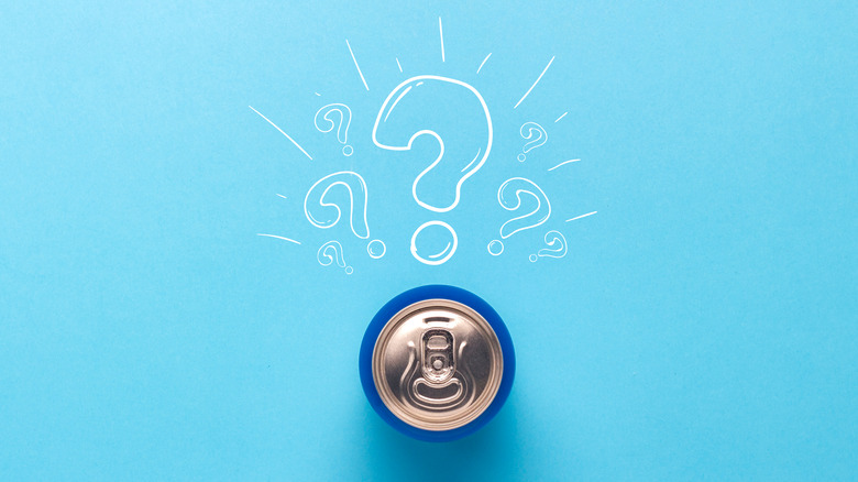 Canned beverage with question marks