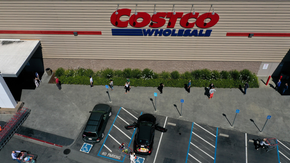 People waiting in line at a Costco