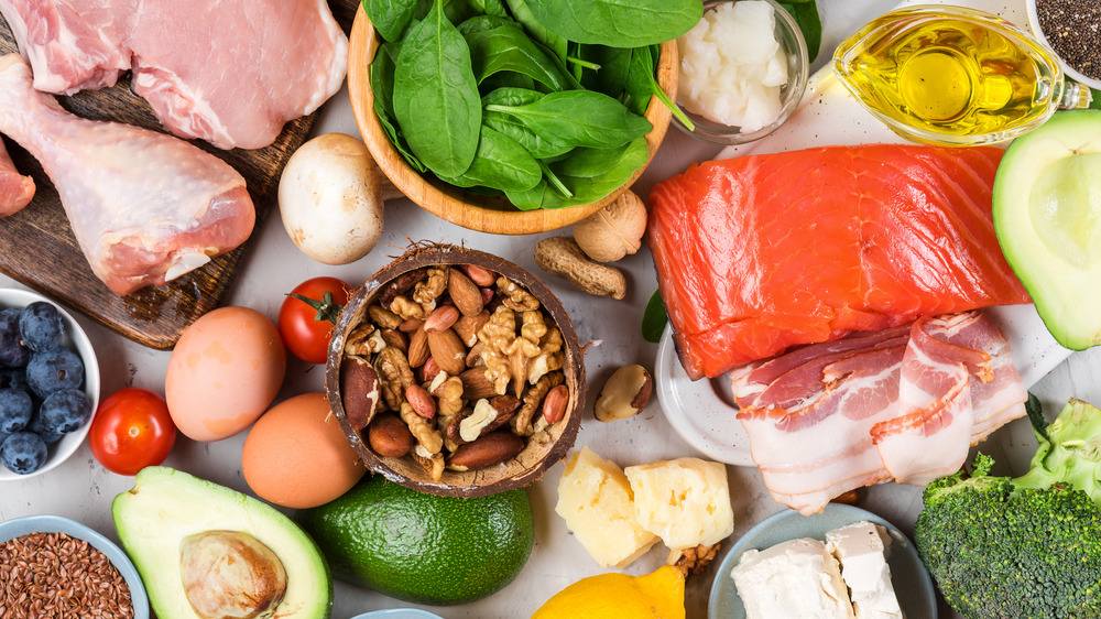 Food items that represent a typical Atkins diet