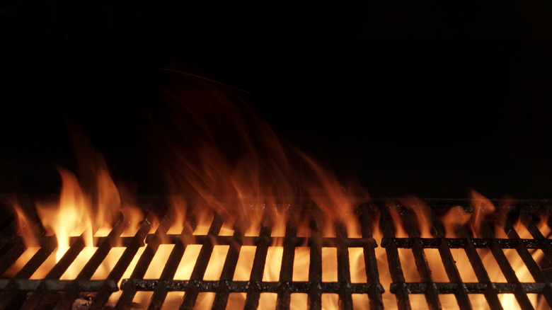 Fire rising under grill grates