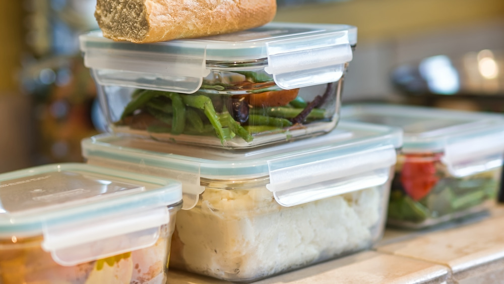 Food stored in plastic containers
