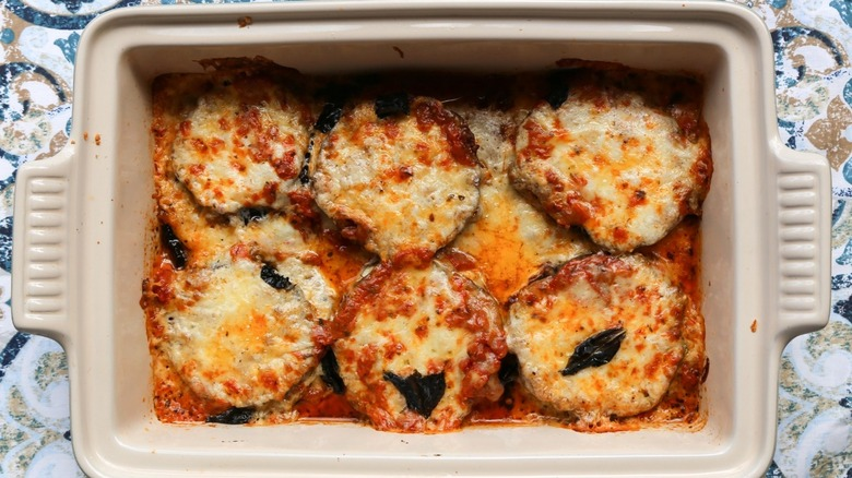 tray of eggplant parmesan