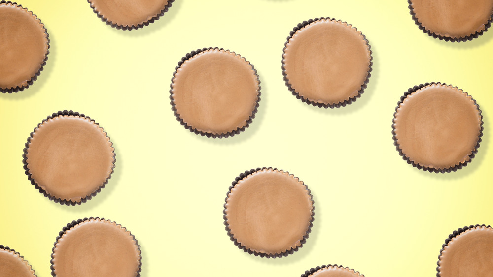 Peanut butter cups on a yellow background