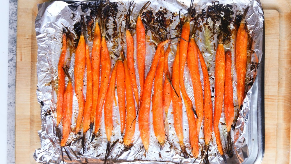 carrots coming out of oven